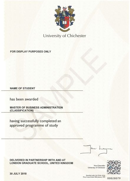 Sample Certificate for LGS-CHI MBA-1
